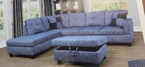 Blue linen sectional couch and storage ottoman for Sale in Tacoma, WA
