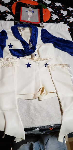 Star Cheerleader costume. Fringe trimmed leather and satin top with back zip shorts. Leather fringed boots. for Sale in St. Peters, MO