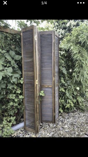 """2 vintage closet door shutters. One side is missing some slats. All 4 panels= 48"""" wide X 79"""" tall for Sale in Portland, OR"""