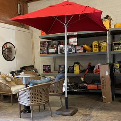 6 ft. Silver Anodized Aluminum Outdoor Market Patio Umbrella with Fiberglass Ribs Push Lift in Sunbrella Jockey Red for Sale in Phoenix,  AZ