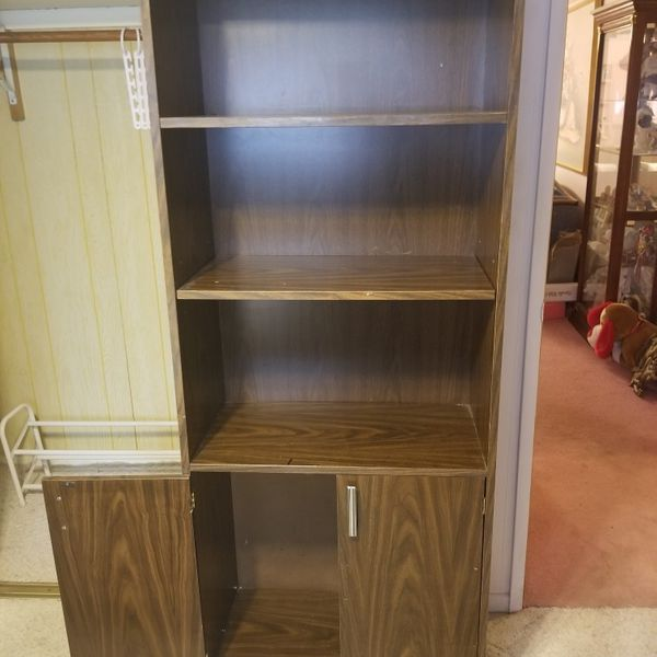"""Bookshelf with cabinet on lower level 28"""" W x 14"""" D x 72"""" T"""