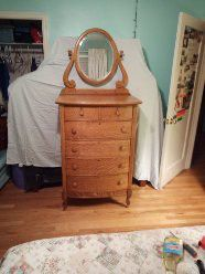 Antique Tiger Oak Highboy Dresser w/Mirror for Sale in Denver, CO