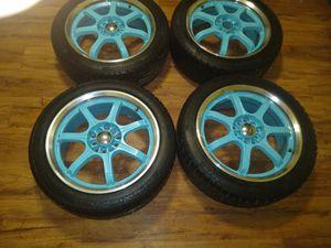 universal rims 5×114/5×100 fits Honda (new tires) for Sale in Torrington, CT