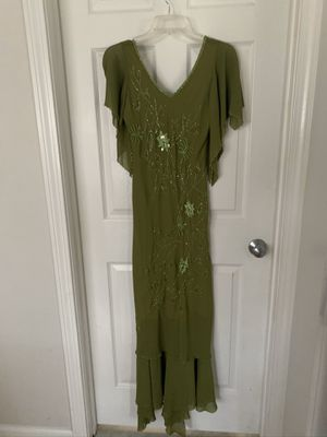 Green beaded wedding/ prom dress, size m for Sale in Everett, MA