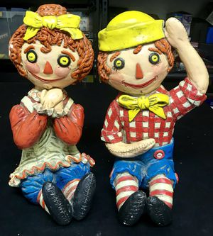 """Vintage 1969 Raggedy Ann & Andy Large 14"""" Doll Statues Art by York for Sale in Woodland Hills, CA"""