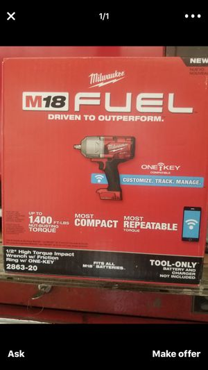 Mod 2863-20 milwaulkee one key new 1/2 18 v impact 1400 torque ( tool only) for Sale in Paramount, CA