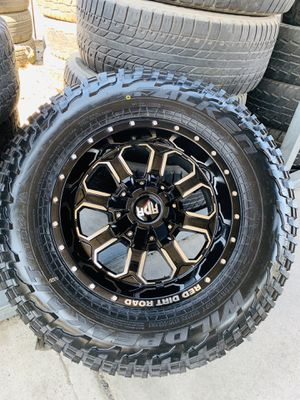 """17"""" new gloss black rims and falken at3w tires 2657017. 6 lug Chevy gmc Toyota for Sale in CA, US"""