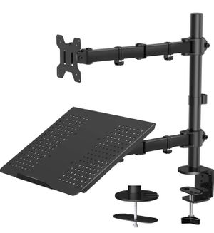 Laptop Monitor Mount Stand with Keyboard Tray, Adjustable Notebook Desk Mount with Clamp and Grommet Mounting Base for 13 to 27 Inch LCD Computer Scr for Sale in Diamond Bar, CA