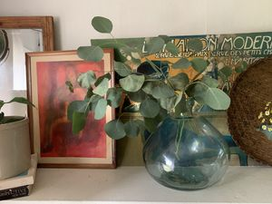 Blue Glass Vase / Boho Decor / Plant stand / wicker / Beach / Farmhouse / Clear / Pottery for Sale in Portland, OR