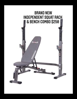 Brand new in box never opened adjustable Olympic squat power rack and weight bench combo for Sale in Chula Vista, CA