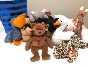 collection of (9) Vintage Beanie Babies Many New With Tags for Sale in Wake Forest, NC