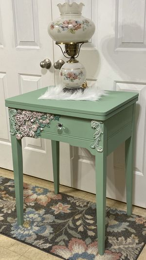 Beautiful custom painted sewing machine table turned into a table with storage for Sale in Murfreesboro, TN
