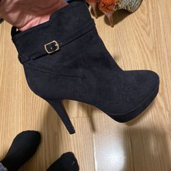 Women's Black Suede booties/heels for Sale in Fayetteville,  NC
