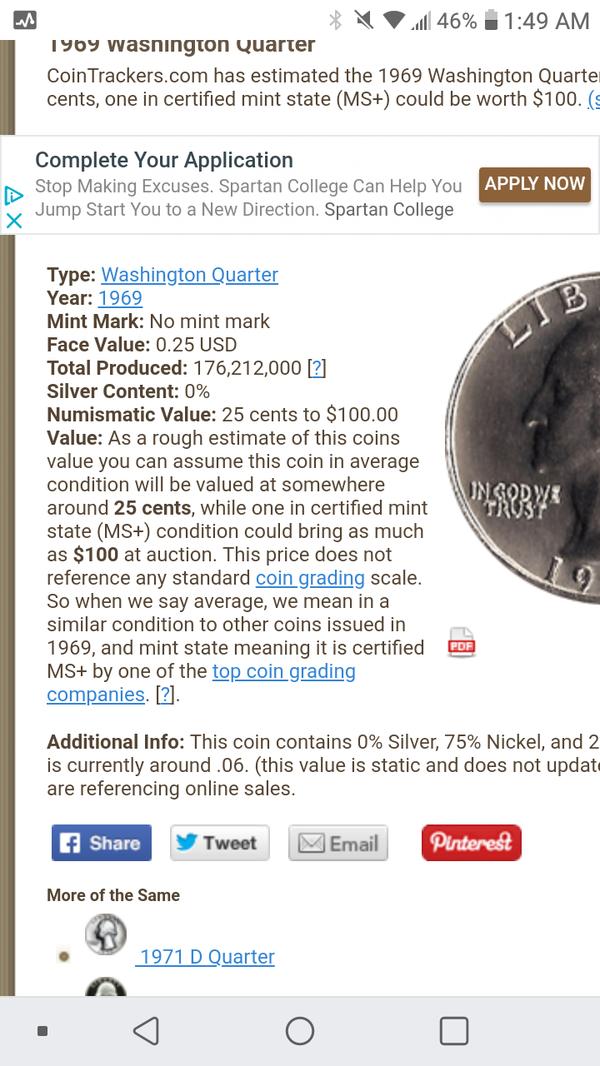 1969 Washington Quarter No Mint Mark