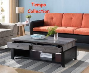 NEW IN THE BOX. ORDAZ COFFEE TABLE, DISTRESSED GREY AND BLACK, SKU# TT161827CT for Sale in Santa Ana, CA
