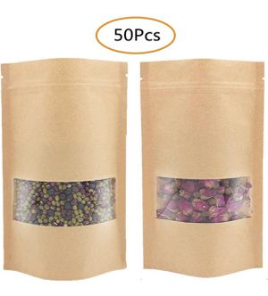 New 50 Pcs 4.7x7.8 Inches Stand Up Kraft Paper Bag, Reusable Zip Lock Sealing With Notch Matte Transparent Window Bags Storing Food Storage for Sale in Los Angeles, CA