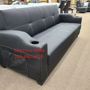 No Credit Needed No Money Down Black Faux Leather sofa Bed for Sale in Hyattsville, MD