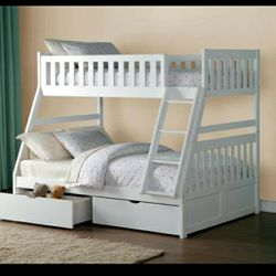 Galen White Twin/Full Bunk Bed With Trundle /Storage 👉$39 DOWN payment only 100 days same as cash for Sale in Silver Spring,  MD