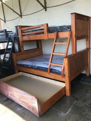 Brand new bunk bed frame with mattress twin/full/full for Sale in Mission Viejo, CA