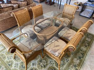 Glass kitchen table, six chairs, three bar stools for Sale in Naples, FL