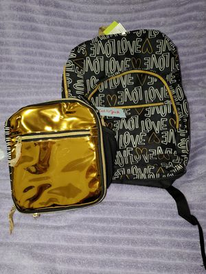 Cat & Jack black and gold backpack and matching lunch bag for Sale in Mesa, AZ
