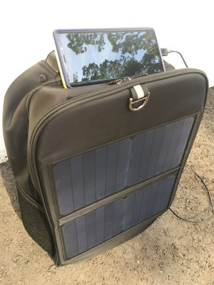 Solar Panel Outdoors Adventure Backpack Bag Hiking Phone Fast Charger Travel for Sale in South Plainfield, NJ