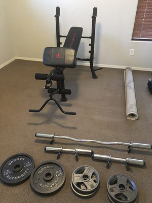 Marcy Weight Bench and EZ bar and curl bars with 90lbs for Sale in Waddell, AZ