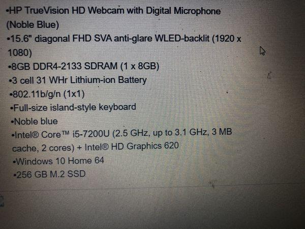 "Noble Blue HP Notebook 15.6"" - 16gb RAM- 256gb"