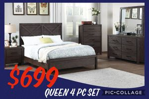 Queen bed frame with Dresser and Mirror with Nightstand included for Sale in Glendale, AZ