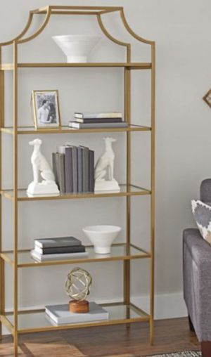 New!! Bookcase, bookshelves, storage unit, 5 tier bookcase, organizer, shelving display, living room furniture, gold and glass for Sale in Phoenix, AZ