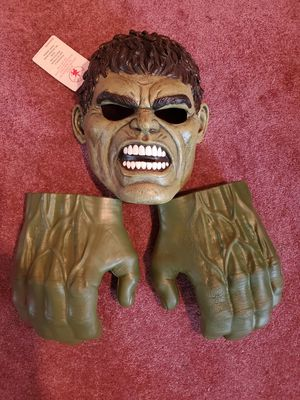 Hulk Adult mask and hands for Sale in Minneapolis, MN