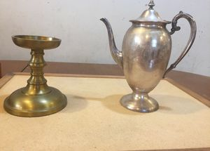 Teapot and brass candle holder for Sale in Amissville, VA