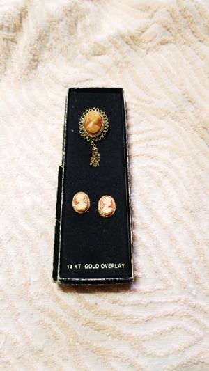 pin and earrings 14KT gold overlay/plated for Sale in San Antonio, TX