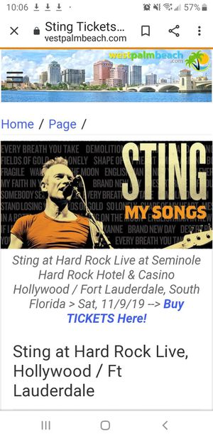 Sting Concert @ Hard Rock Live in Hollywood, FL 2 Tickets for Sale in NW PRT RCHY, FL