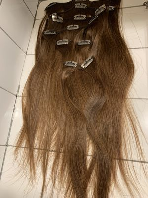 """14"""" real human hair brown extensions clip on for Sale in Mount MADONNA, CA"""
