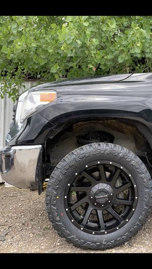 "New 20"" black Rims and New tires 20 Wheels 20s Rines negros y Llantas nuevas 5 Lug Dodge Ram 1500 Toyota Tundra 5x150 / 5x5.5 5x139 Bolt Pattern 22"" for Sale in Dallas, TX"