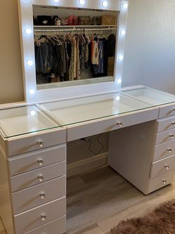 Vanity desk 13 drawers glass top for Sale in Whittier,  CA