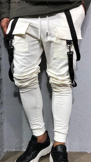 White strap jogger pants new sizes only small medium large XL for Sale in Los Angeles, CA