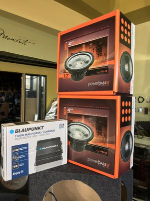 """Car audio bundle deal 2 12"""" subwoofer 500w each with 1500w amplifier all brand new finance available 100 days to pay no interest for Sale in Fremont, CA"""