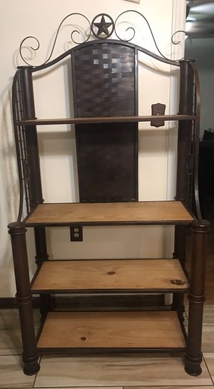 Rustic wrought iron bakers rack for Sale in Fort Worth, TX