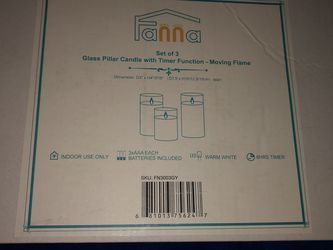 NEW FANNA GLASS PILLAR CANDLE WITH TIMER FUNCTION- MOVING FLAME (3)- SILVER for Sale in Denver,  CO