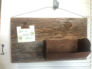 Rustic handmade note holder with metal shelf for Sale in Chicago, IL