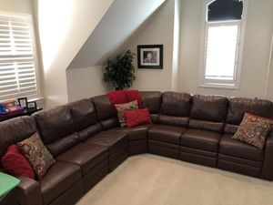 Palliser reclining leather sectional couch for Sale in Cary, NC