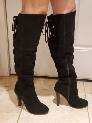 Brand New Thigh high black genuine suede lace up boot!! Super sexy for Sale in Phoenix, AZ
