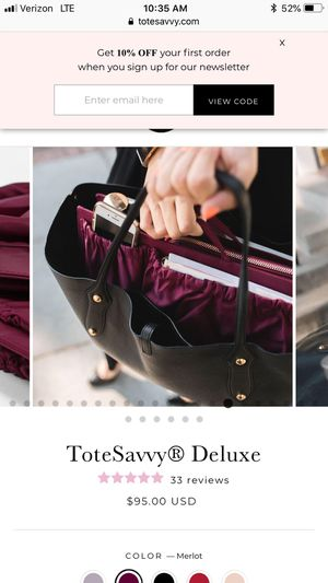 Tote Savvy Delux - Merlot color tote organizer for Sale in Chandler, AZ