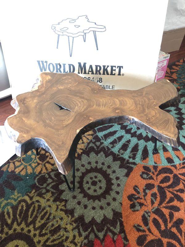 World Market Wood Slice Coffee Table