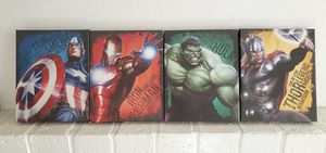 Captain America, Iron man, Hulk & Thor Small Canvases for Sale in Rialto, CA