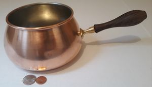 "Vintage Metal Copper and Brass with Wooden Handle, Cooking, Kitchen Decor, Shelf Display, 12"" Long and 6"" x 3 1/2"" Pan Size, Heavy Duty Quality for Sale in Lakeside, CA"