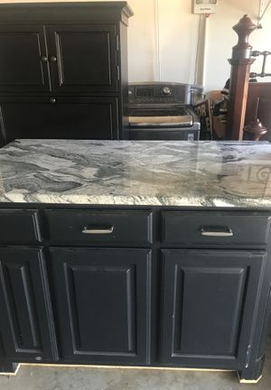 Kitchen island. Solid wood with a beautiful Augusta granite countertop.. Electrical wiring ready ! for Sale in McKinney, TX