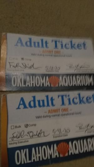 Glenpool, Oklahoma $20 Two admit one tickets for the Oklahoma Aquarium in jenks expiration date 5/18/20 for Sale in Glenpool, OK